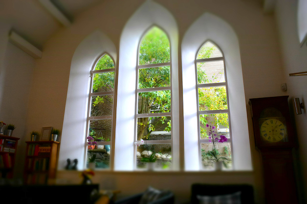 English Language School Perthshire - Blue Noun - reading area and windows - repurposed church